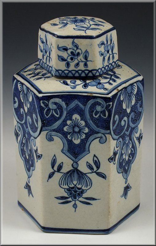 delft pottery | Details about Early Delft Pottery Tea Caddy w/ Blue & White Flowers