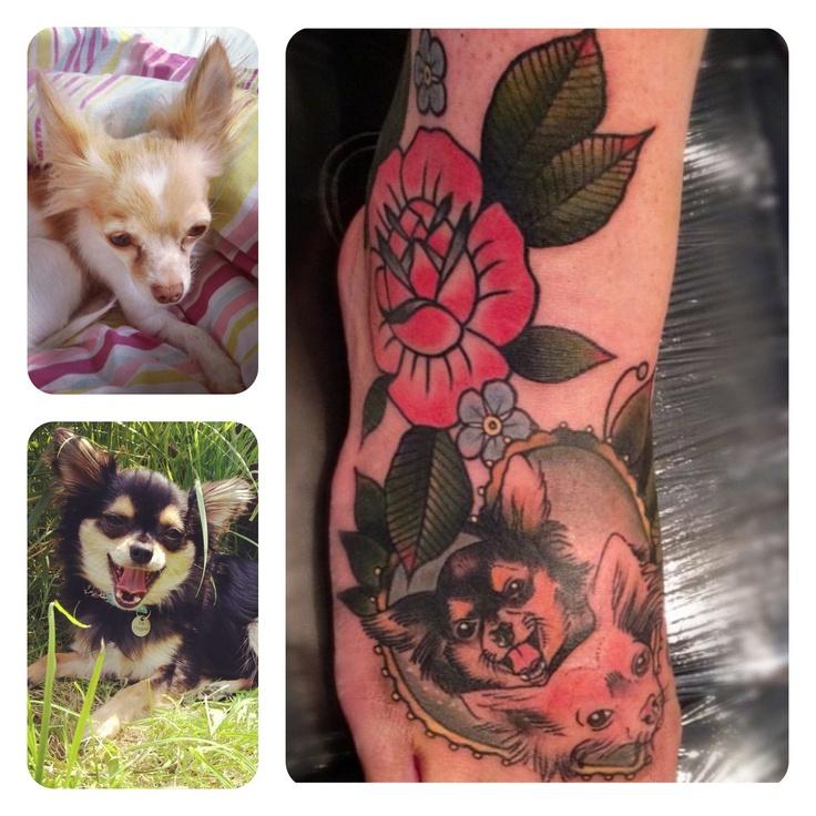 My new tattoo! Chihuahua dog tattoo by Cassandra Frances - CFB Tattooist
