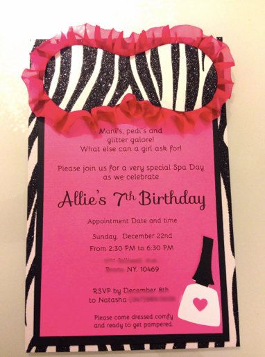 spa party birthday party invitations thank you cards birthday invitations party invitations no172