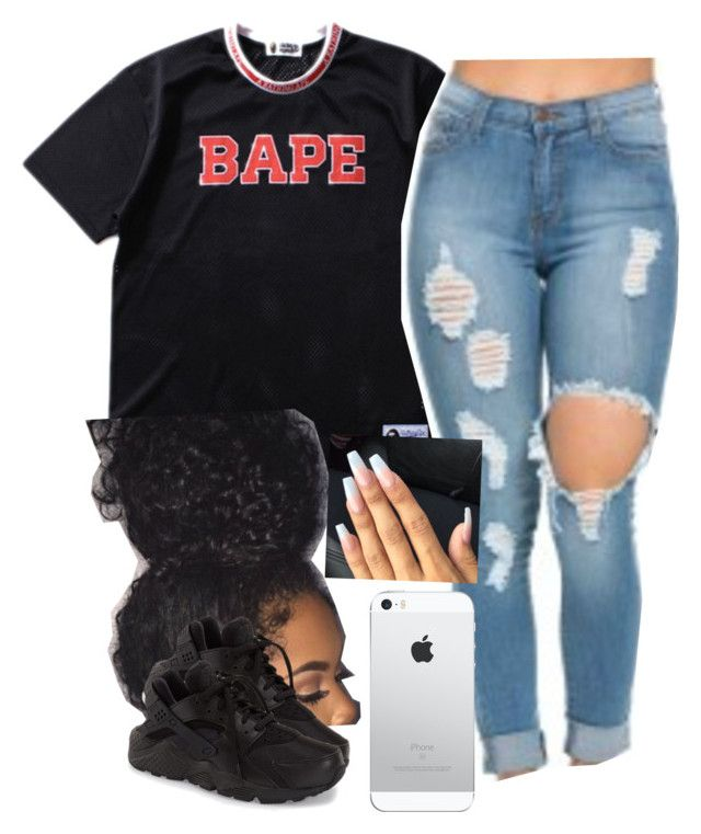 """""""✨"""" by newtrillvibes ❤ liked on Polyvore featuring A BATHING APE and NIKE"""