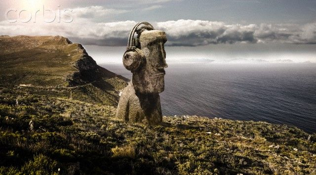 Maoi statue with headphones made from stone