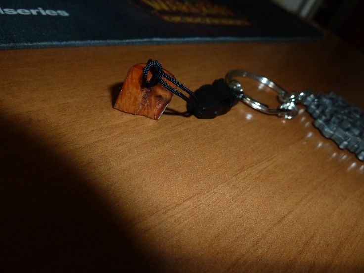 A  polished  knot/gnarl (wood) with a small hole  (drill 1,5 mm) into a keychain