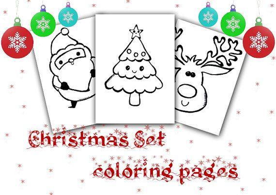 Set disegni di Natale alberello renna e babbo natale da colorare disegno per bambini download da stampare pagina da colorare kawaii carino