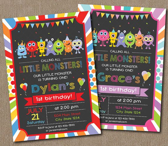 Monster birthday invitation st birthday Monster by PixeleenDesigns