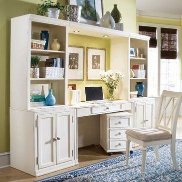 Camden-White Desk by American Drew. $630.00. Length 21.75. Width 51. Traditional styleBrushed nickel finish1 drawer w/removable pencil box. Height 30.5. Assembly Required Light Assembly. Camden White accents simple forms with quiet traditional references, gentle curves and a beautiful time worn white finish that lets the character of the wood show though. The brushed nickel finish hardware adds even more casual elegance to Camden. This collection will work great in your...