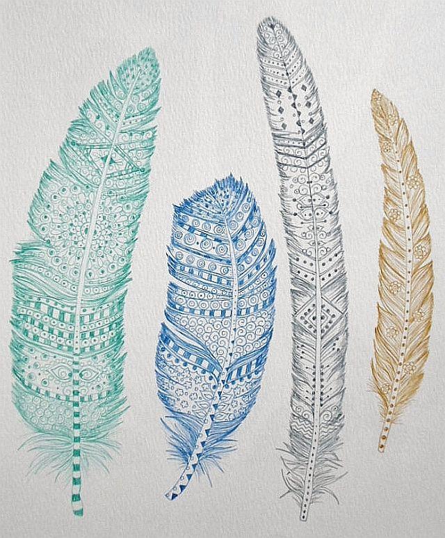 Feathers ~ artist ChubbyMermaid #art #journal