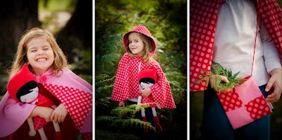 reversible cape, denim 3/4 pant and little red doll | available from missy melly