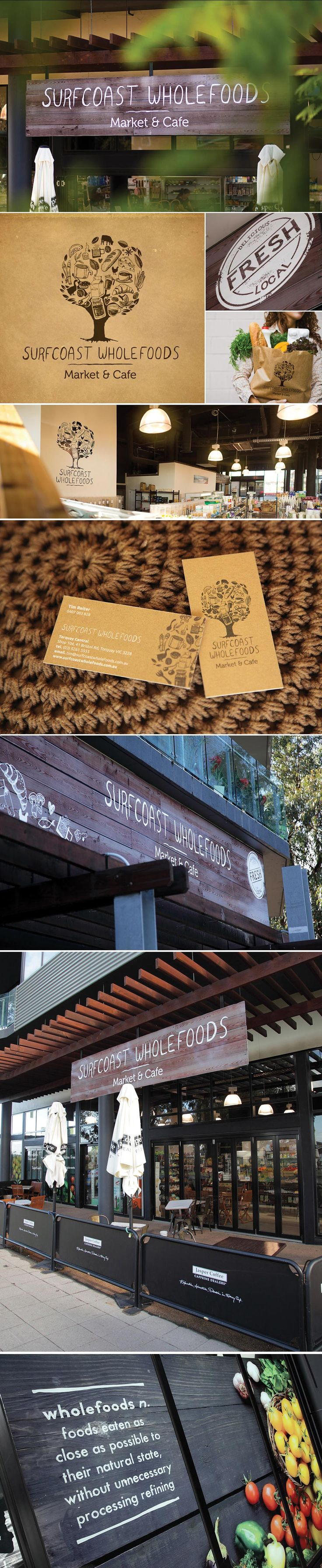 Surfcoast Wholefoods branding. Surfcoast Wholefoods specialist in organic and gluten free grocery products and produce.