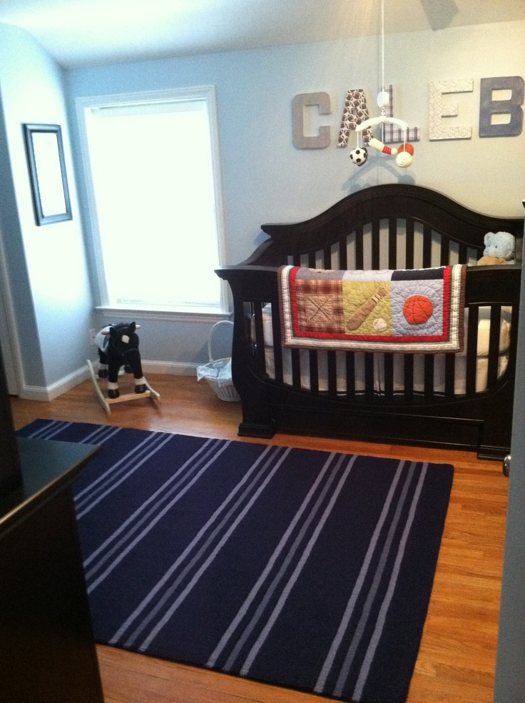 blue sports theme baby boy nursery kiddos pinterest sporty boy nurseries and nice. Black Bedroom Furniture Sets. Home Design Ideas