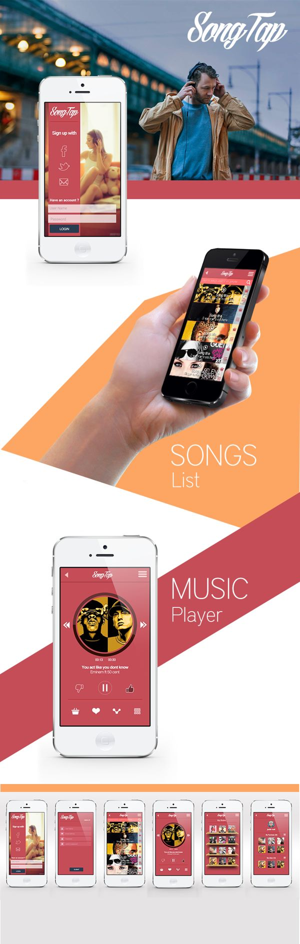 Music app UI/UX design on Behance