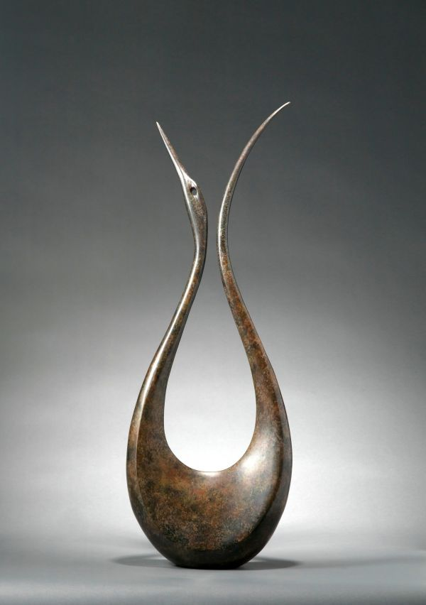 Bronze Birds Abstract Contemporary Stylised l Minimalist Sculpture / Statues #sculpture by #sculptor Simon Gudgeon titled: 'Lyrebird 1.8m' #art
