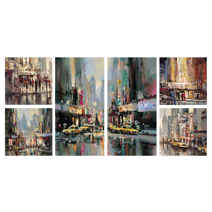 47 X 24-in City Impression Gallery Art- 6 Piece - At Home