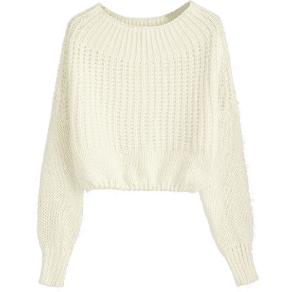 Off The Shoulder Pullover Chunky Sweater Off-white (190 HRK) ❤ liked on Polyvore featuring tops, sweaters, off the shoulder tops, pullover sweater, white off the shoulder sweater, chunky sweater and off-shoulder sweaters