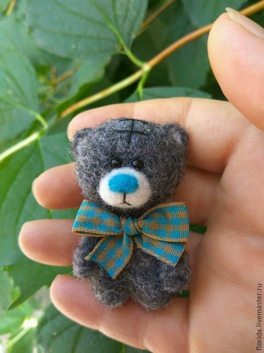 "Brooches handmade.  Fair of Masters - handmade.  Buy Mishka felt ""Teddy"".  Handmade.  Gray, Misha felt"