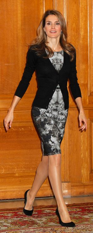 Letizia has worn the ink-blot dress on numerous occasions since its debut in October 2013. She usually styles it with a black cardigan or blazer.
