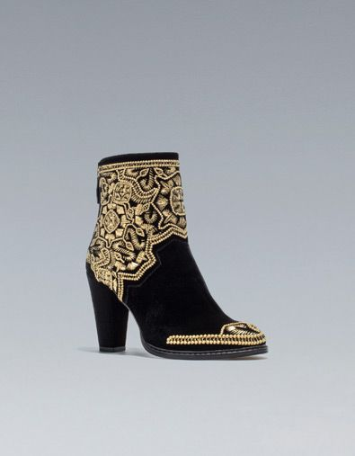 GOLD EMBROIDERED HIGH-HEEL ANKLE BOOT - Ankle boots - Shoes - Woman - ZARA United States - NEED