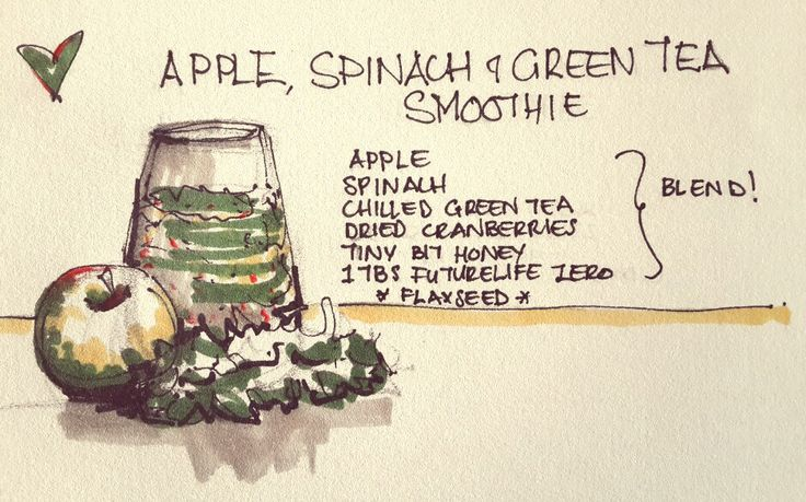 Apple, spinach & green tea smoothie ♡ 1 Apple, cup spinach, cup chilled green tea, dried cranberries, tiny bit of honey, 1 tbs futurelife zero.