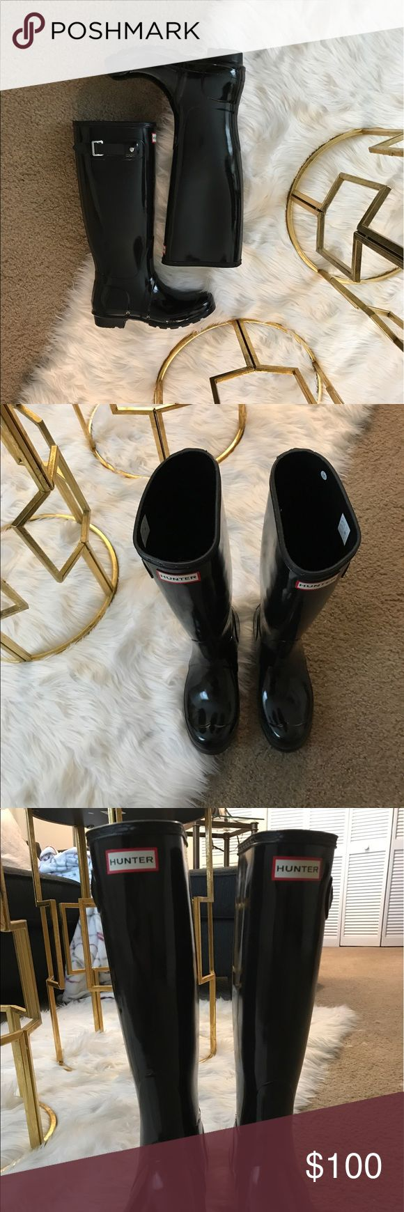 Black Tall Hunter Rain Boots Size 6 Perfect condition rain boots 😊☔️ only worn one time! Black, size women's 6!! Selling for $100 OBO Hunter Boots Shoes Winter & Rain Boots