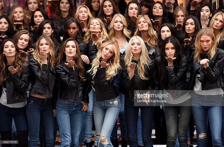 Victoria's Secret models Lily Aldridge, Behati Prinsloo, Alessandra Ambrosio, Candice Swanepoel, Elsa Hosk, Adriana Lima and Karlie Kloss attend the 2014 Victoria's Secret Fashion Show - Bond Street Media Event on December 1, 2014 in London, United Kingdom.