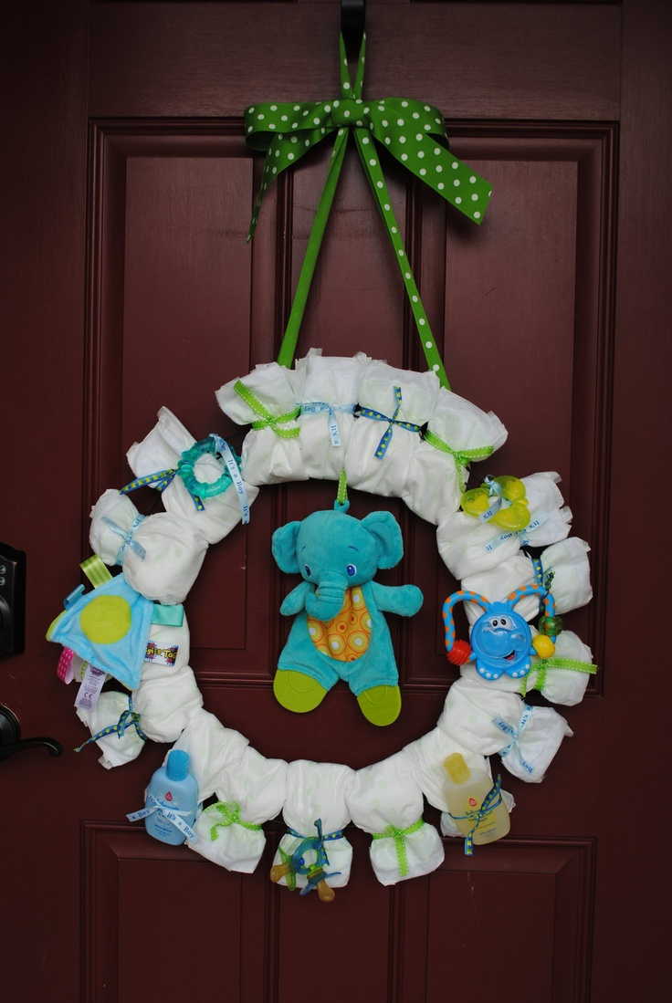Baby Shower Diaper Wreath - It's a Boy- It's A Girl- Celebration for Baby. $35.00, via Etsy.