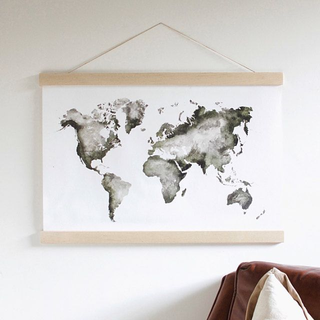 Best 100 map images on pinterest maps world maps and for the home a hand painted world map for your modern home studio or nursery our gumiabroncs Choice Image