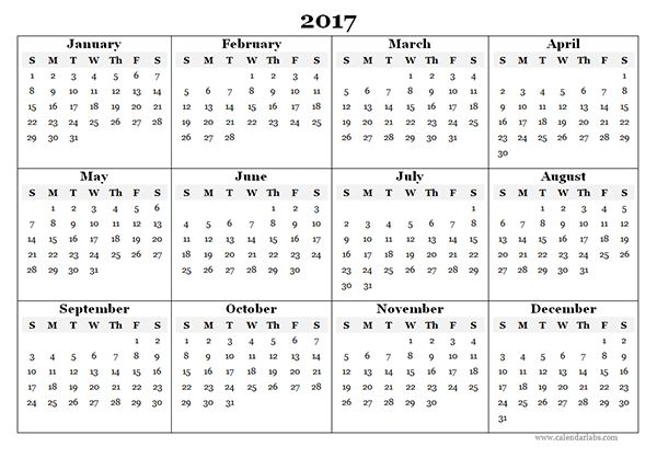2017 Blank Yearly Calendar Template