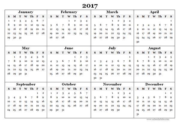 2017 Blank Yearly Calendar Template