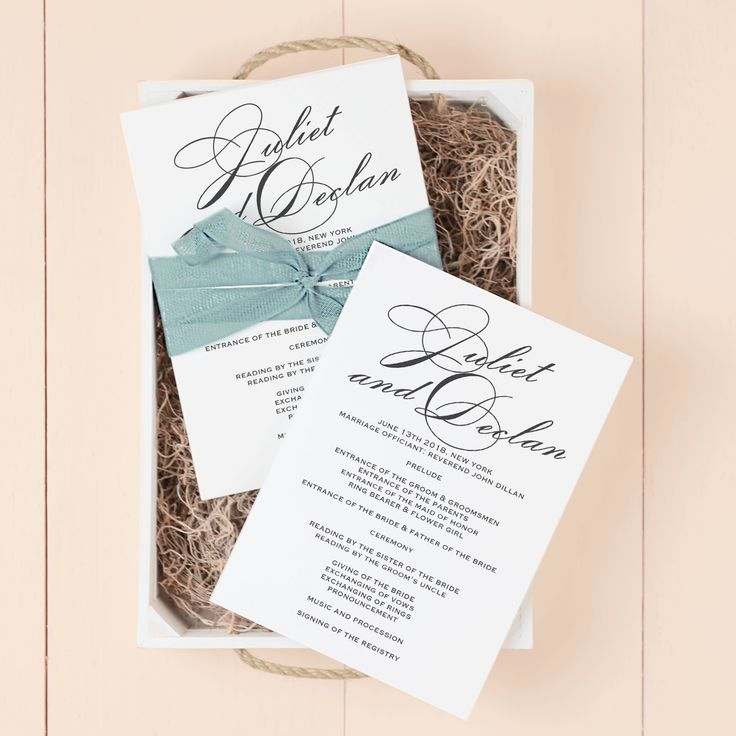 bridal shower invitations registry etiquette%0A Classic Script Wedding Program