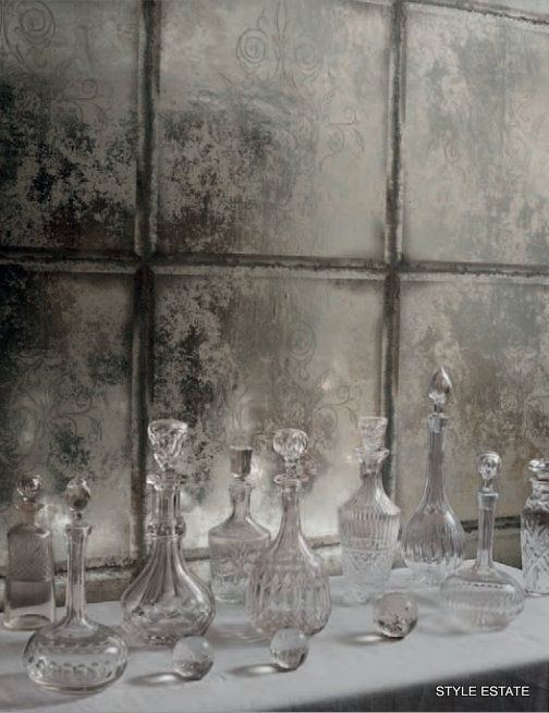 Cole and Son Albamarle collection  Wallpaper that looks like mirrored glass: less expensive than putting mirror in the dining room, and this paper is GORGEOUS