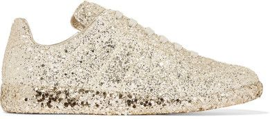 Maison Margiela - Glittered Leather Sneakers - Gold