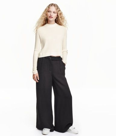 Check this out! High-waisted pants in woven fabric with a heavy drape. Side pockets, welt back pockets, wide, straight legs, and belt at waist with metal D-ring. - Visit hm.com to see more.