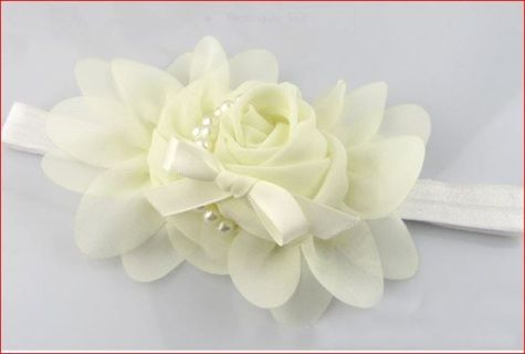 Cute and classy child's pearl decorated flower hair band for girls  on elasticed hairbands. Wonderful alternative to a traditional headpiece or tiara for young children.  Can be worn by child from 2 months to 2 years Great for junior bridesmaid  Do not leave a  small child unattended when wearing a hair band. Great hair jewellery for babies