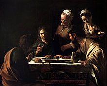 cena in emmaus caravaggio- 2 versione- 1608-Pinacoteca di Brera - Wikipedia