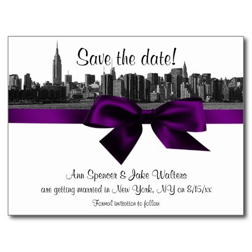 NYC Wide Skyline Etched BW Purple Save the Date Post Card