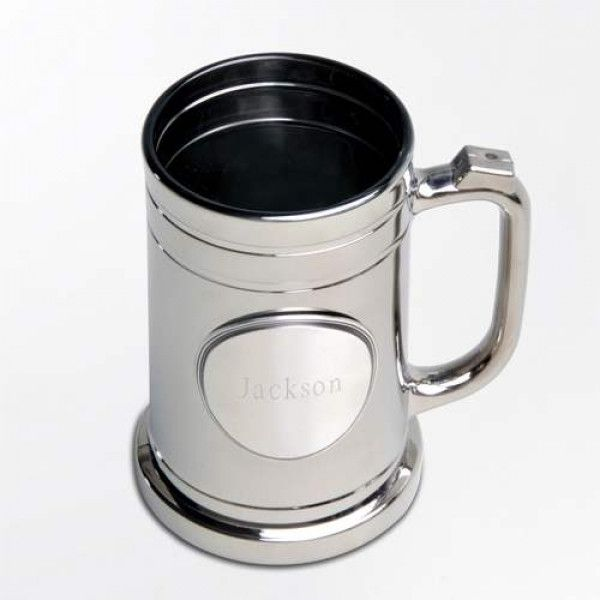 Beer drinkers and mug collectors will love this unique metal-coated, personalized mug with pewter medallion. Contemporary but with a classic feel, this personalized mug will hold plenty of your favorite brew and includes a sturdy base, slim handle, and sleek lines.