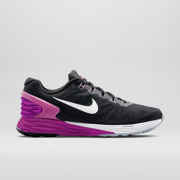 Nike LunarGlide 6 Women's Running Shoe in Dark Grey/Fuchsia Flash/Black /White