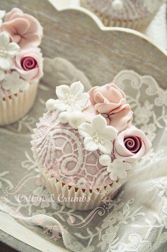 Cupcakes rendado floral