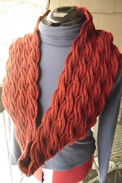 Reversible Cabled Brioche Stitch Scarf pattern by Saralyn ...