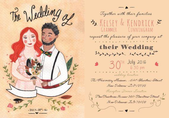 Invitaciones personalizadas de boda!  Ilustradas con los retratos de los novios :)  Custom wedding invitation illustrated