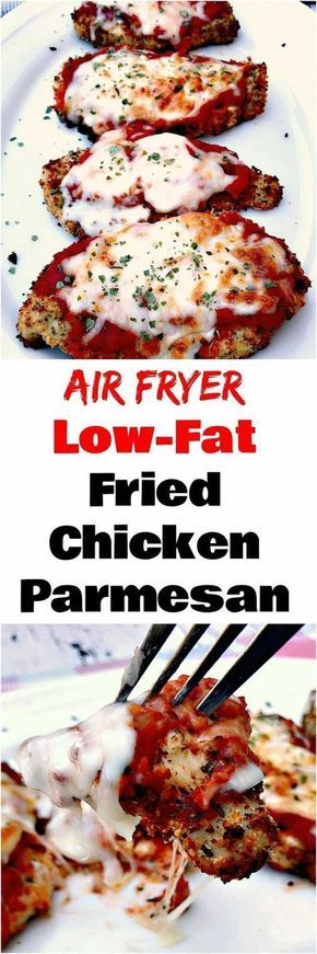 Air Fryer Panko Breaded Chicken Parmesan with Marinara Sauce is a quick and easy low-calorie, low-fat recipe with mozzarella cheese.
