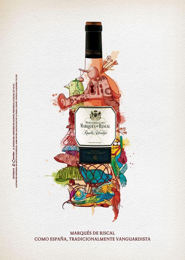 Marqués de Riscal by Anthony Rincón  #wine #label #packaging #design #spirit #maximum #taninotanino #winelabel #ilustración