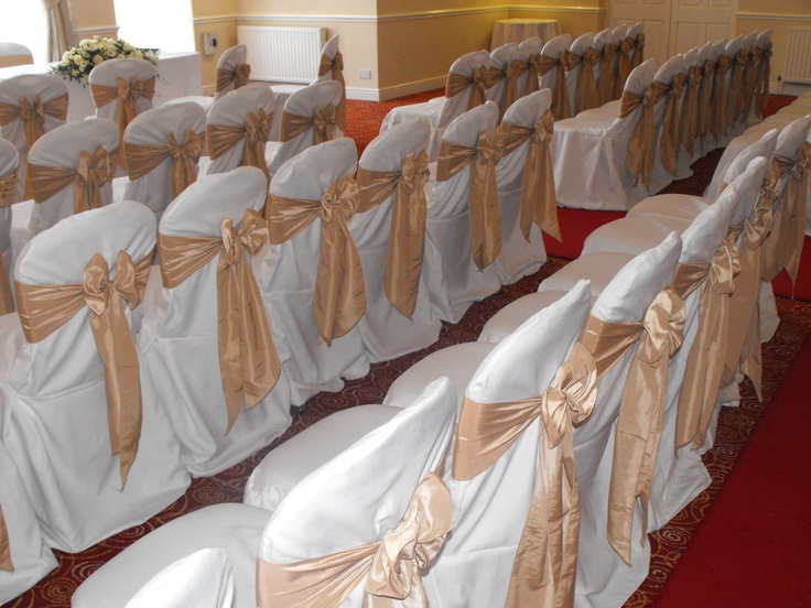 Champagne Satin Bow on White Chair Covers