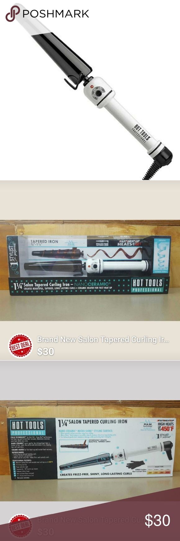 Brand New Hot Tools Curing Iron. Brand new Hot Tools professional tapered curling iron. Nanoceramic and heats up to 450 degrees. Creates frizz-free, shiny, long lasting curls. Cross selling. 💕 Valentine's Sale 💕 Hot Tools Other