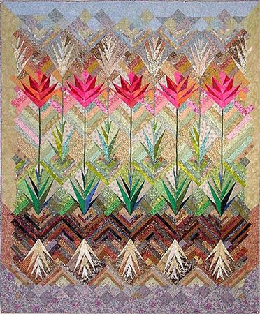 """AMAZING!   Jane Blair. - 60"""" x 72""""  Hand pieced, appliqued and quilted. Cotton fabric, polyester batting.  First Place - Interpretive pieced - American/International Quilt Association.  First Prize- Mid-Atlantic Quilt festival.  First prize- Wall quilt- American Quilters Society  Published QNM -WGBU-TV"""