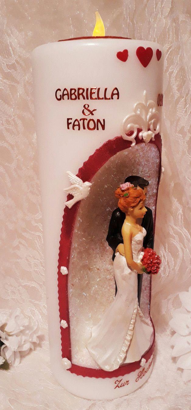 Mit Viel Liebe Zum Detsil Handgefertigte Hochzeitskerze Mit