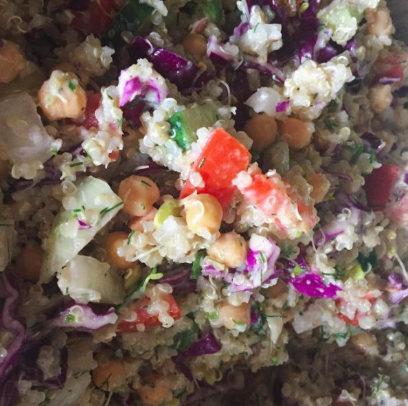 Tatziki & Quinoa salad with #kefir based #tatziki salad dressing!! #delicious is all I can say😍 To receive this recipe, sign up for my free recipes on my website!! www.kelleygene.com