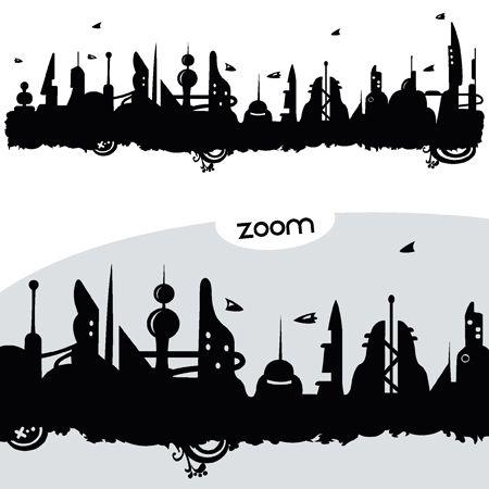 Skyline ville futuriste taille unique stickersfuturistic citydecals