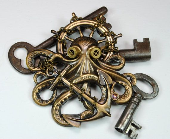 Steampunk Pin Steampunk Hat Pin Octopus Brooch Kraken Cthulhu Steampunk Goggles Steam Punk Pirate Steampunk Jewelry By VictorianCuriosities