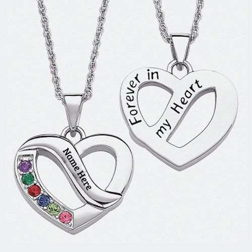 Write Name on Heart Birthstone Necklace Profile Pics