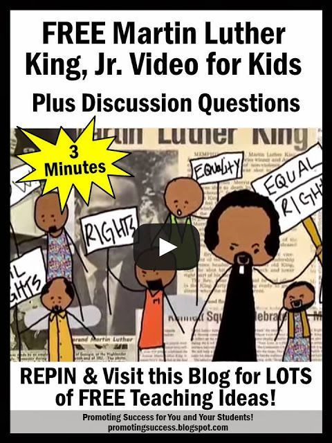 """Visit this classroom teacher blog post for a free Martin Luther King, Jr. Day informational video and discussion questions for elementary students. You will will also find the """"I Have a Dream"""" video, which is the highest rated speech of the 20th century! You will also find links to other printable teaching resources. They also work well during Black History Month."""